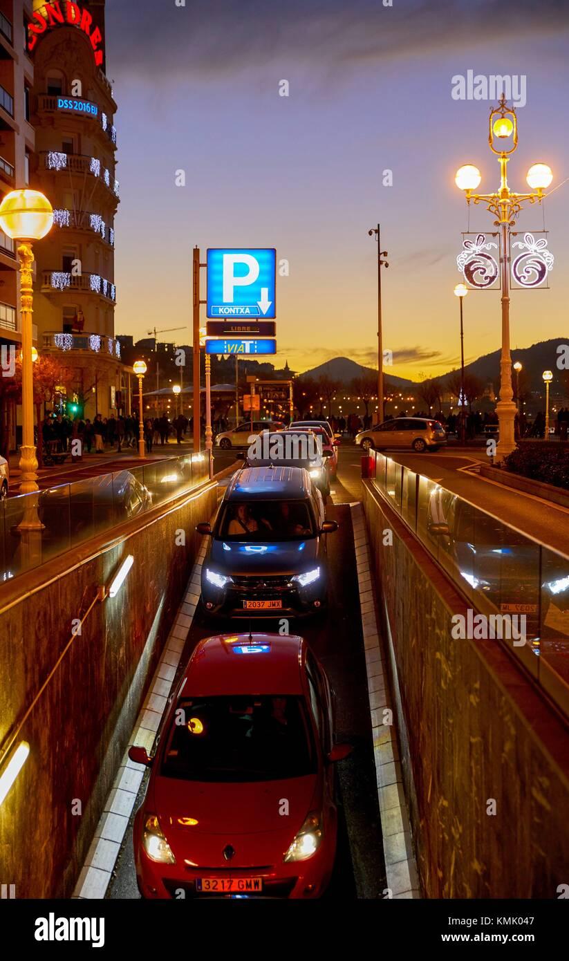 Parking Kontxa, Christmas, Donostia, San Sebastian, Gipuzkoa, Basque Country, Spain, Europe - Stock Image