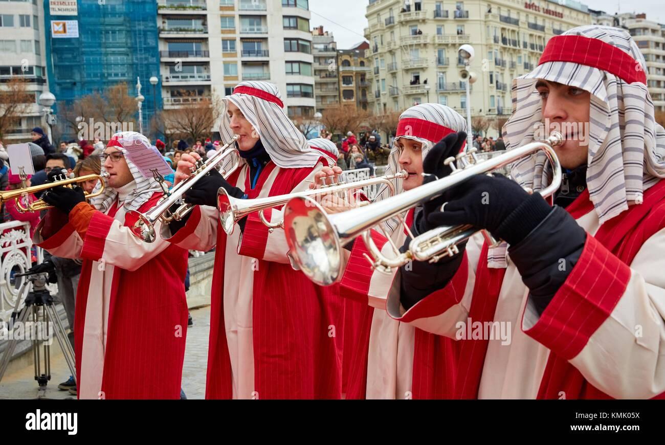 Cabalgata de Reyes Magos, Christmas, Donostia, San Sebastian, Gipuzkoa, Basque Country, Spain, Europe - Stock Image