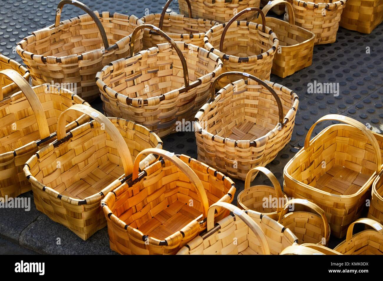 Artisan baskets, Ordizia Market, Special Christmas market, Ordizia, Gipuzkoa, Basque Country, Spain, Europe - Stock Image