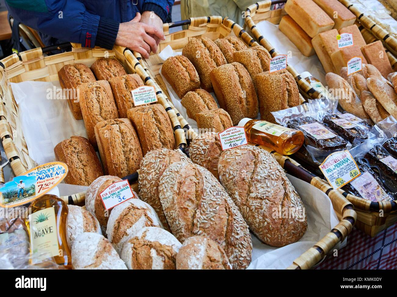 Homemade bread, Ordizia Market, Special Christmas market, Ordizia, Gipuzkoa, Basque Country, Spain, Europe - Stock Image