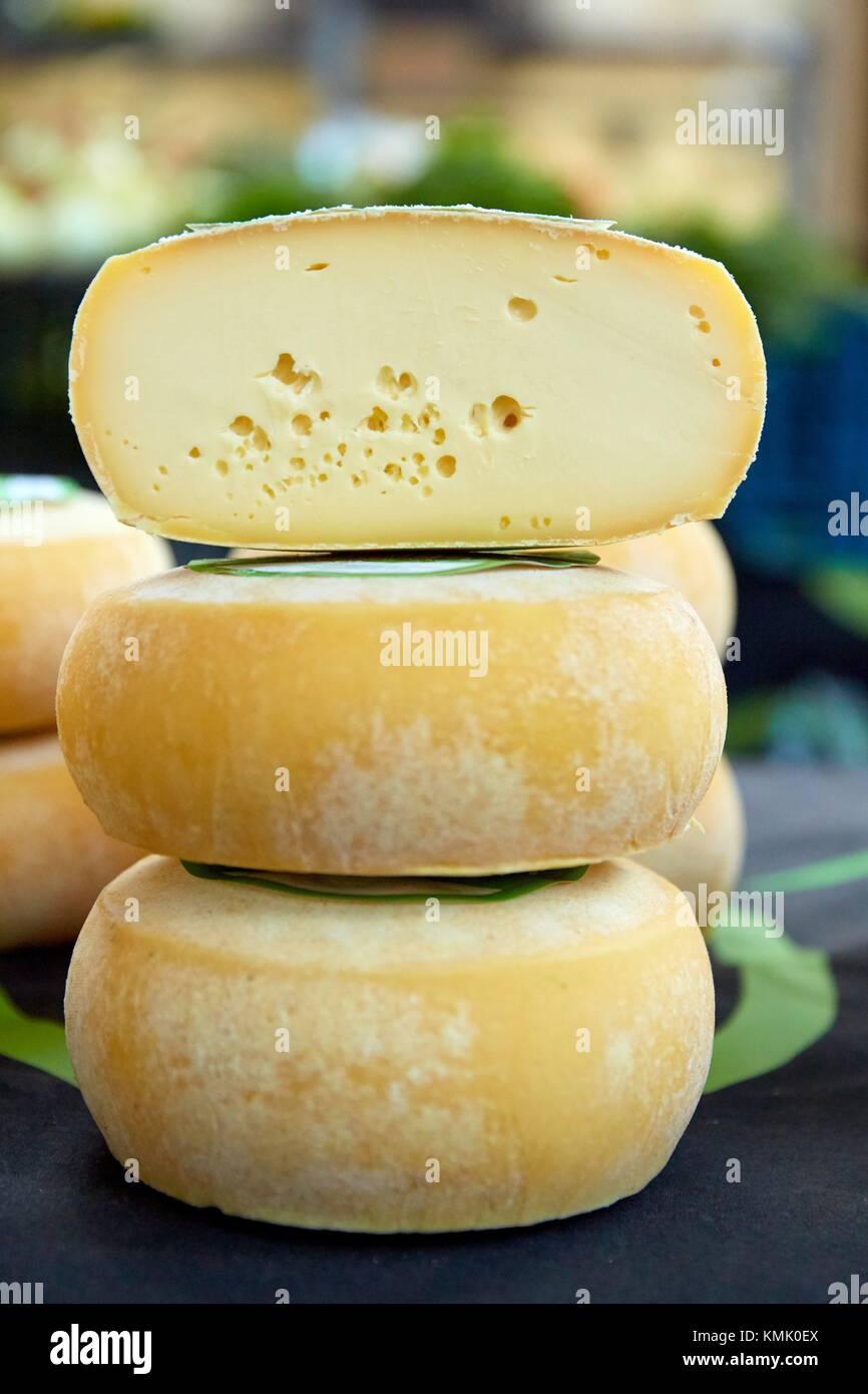 Cheese, Ordizia Market, Special Christmas market, Ordizia, Gipuzkoa, Basque Country, Spain, Europe - Stock Image