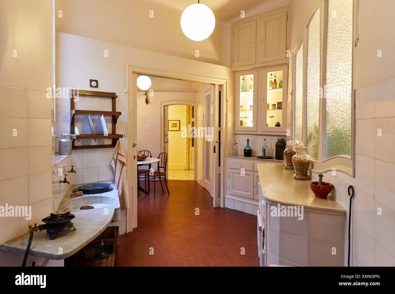 Apartment, recreation of an original bourgeois apartment in the beginning of 20th century at Casa Mila, La Pedrera - Stock Image