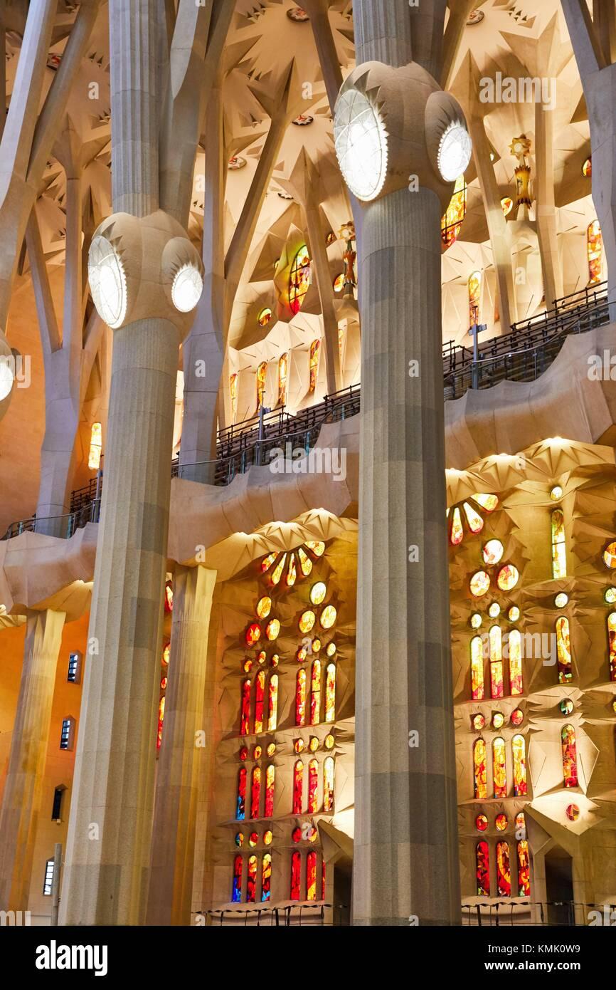 La Sagrada Familia Church, by the architect Antoni Gaudi, Eixample district, Barcelona, Catalonia, Spain - Stock Image