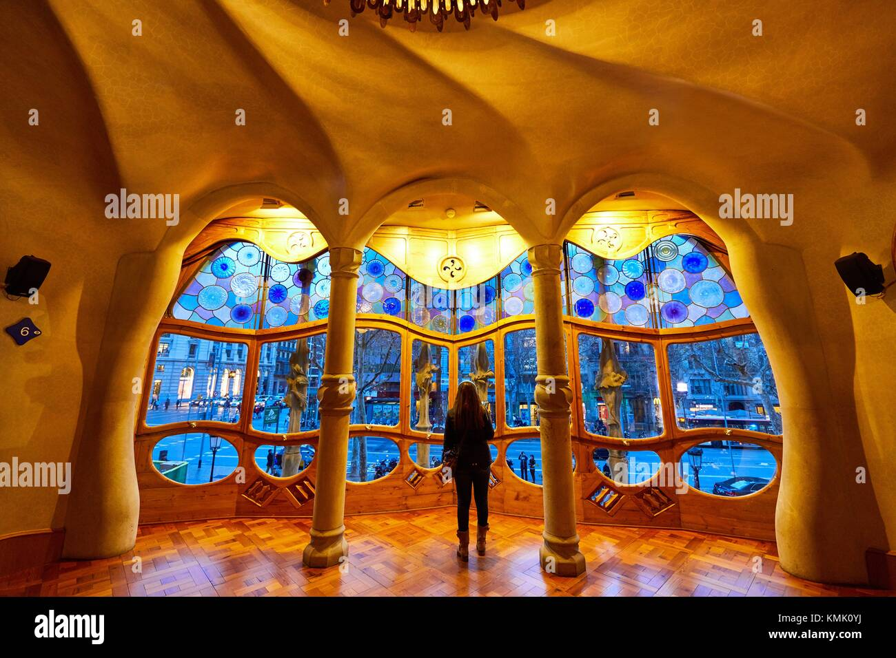 Casa Batlló by Antoni Gaudí architect 1904-1906, Passeig de Gracia, Barcelona, Catalonia, Spain - Stock Image