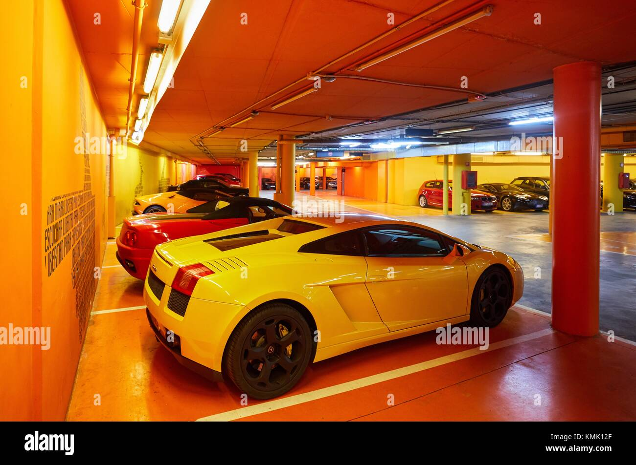 Sports cars, garage, Hotel Puerta America, Avda. America, Madrid, Spain - Stock Image