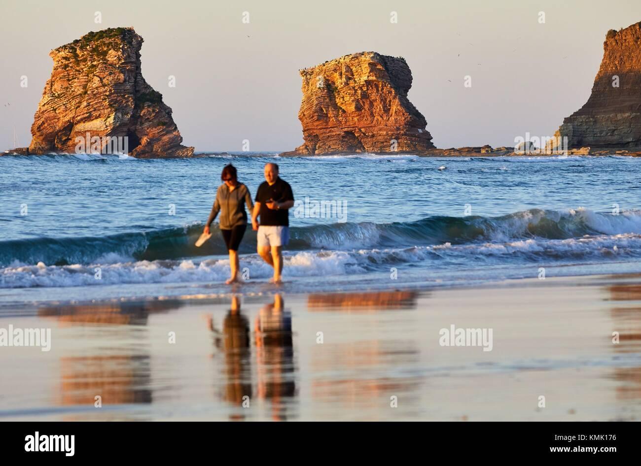 The Twin Rock, Beach, Hendaye, Aquitaine, Pyrenees Atlantiques, France - Stock Image