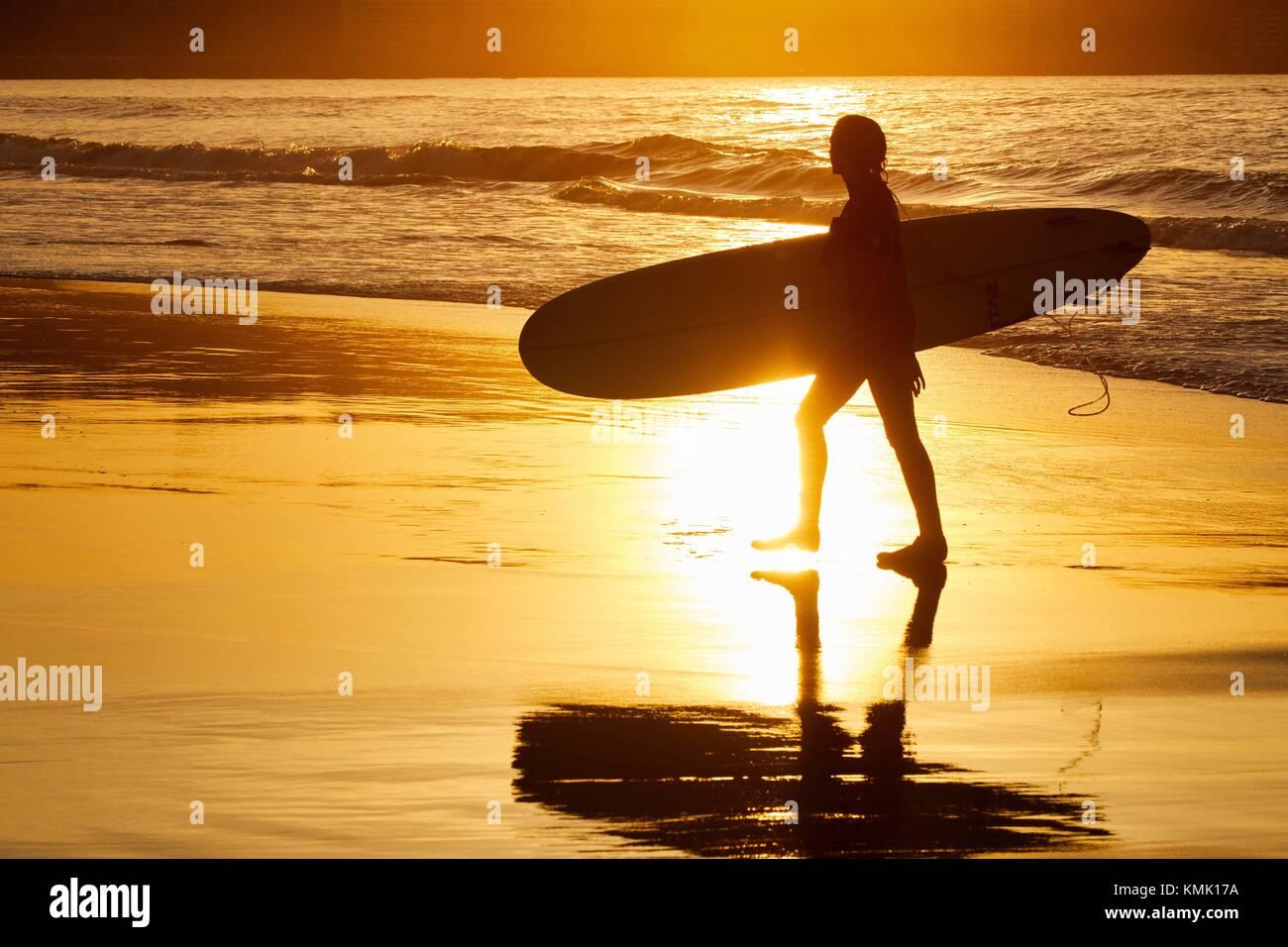 Surf, Beach, Hendaye, Aquitaine, Pyrenees Atlantiques, France - Stock Image