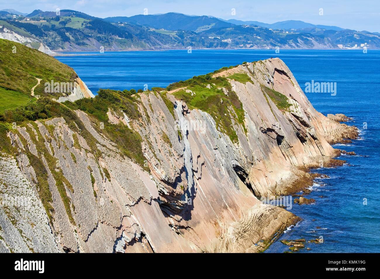 Flysch, tidal platform, Algorri, Zumaia, Gipuzkoa, Basque Country, Spain - Stock Image