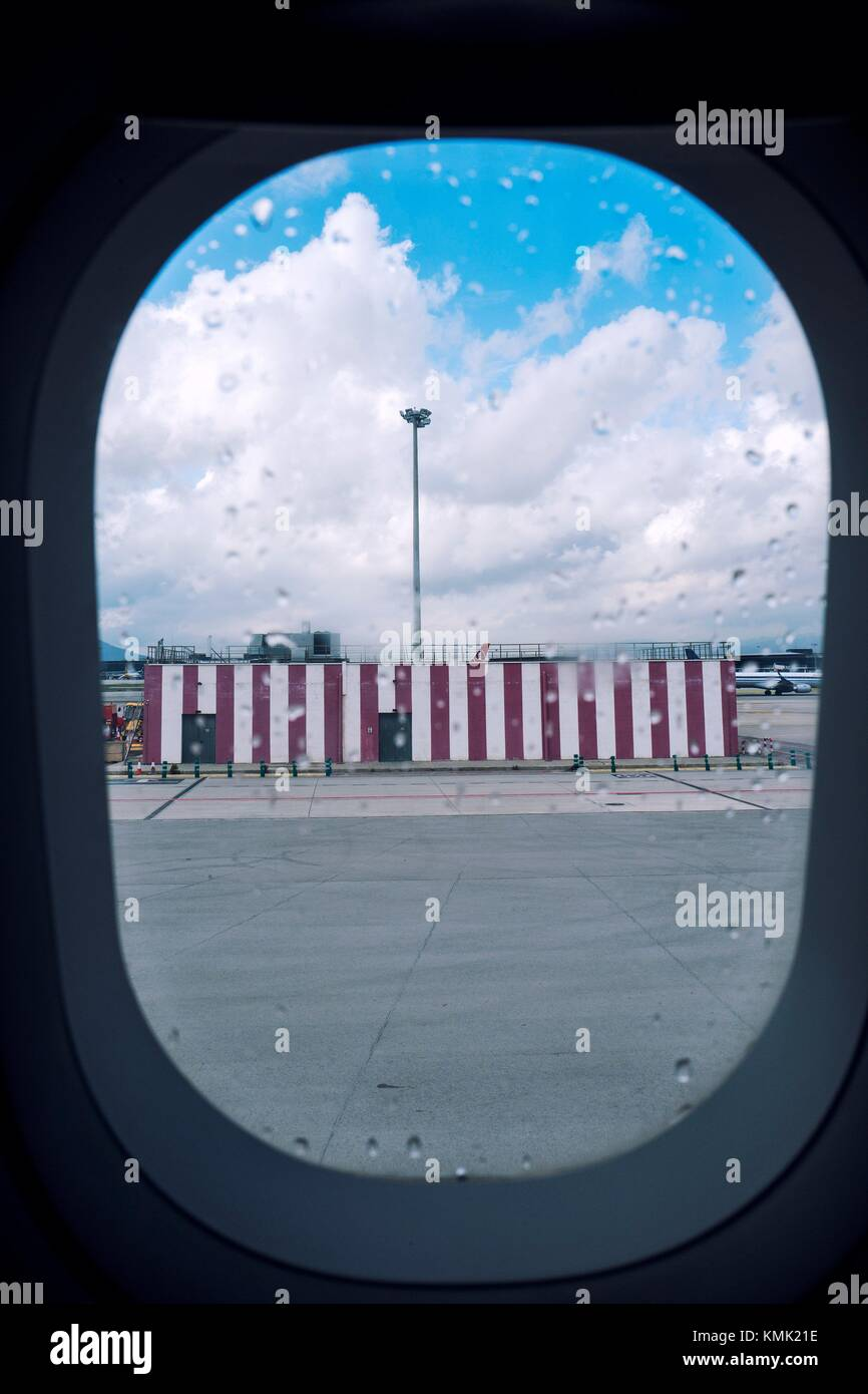 View from inside airplane. El Prat Airport. Barcelona. Spain - Stock Image