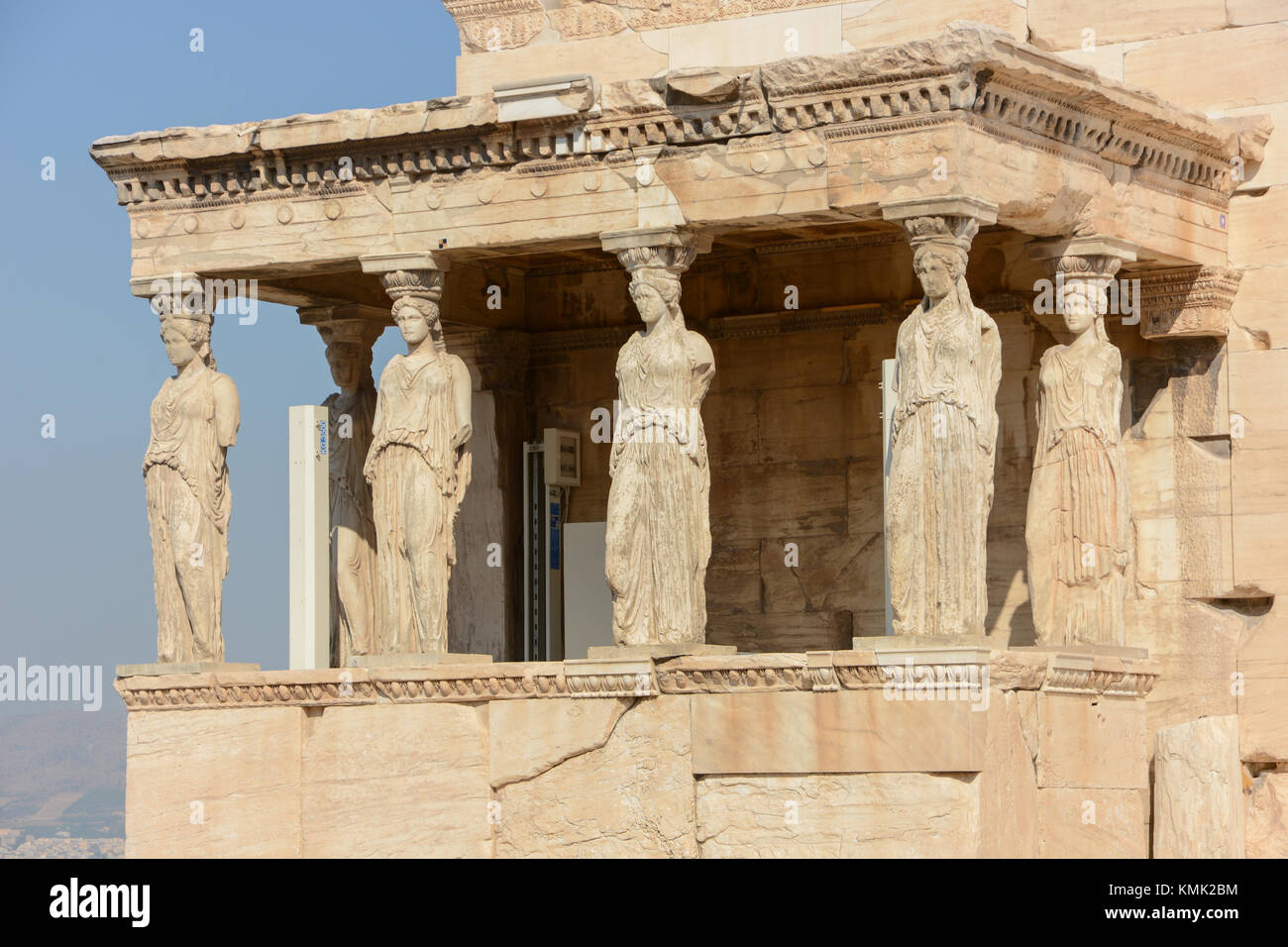 Landscape orientation view of the Erechtheion, Porch of the Maidens/Caryatids, 6 females, at the Acropolis in Athens, - Stock Image