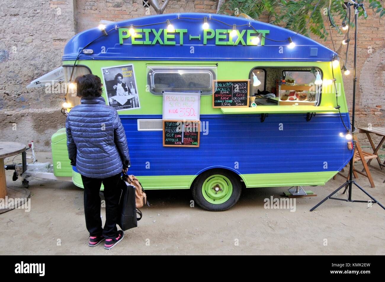Food truck, Festival Rec.0, Experimental Stores. Igualada, capital de la Anoia comarca of Barcelona, Catalonia, - Stock Image
