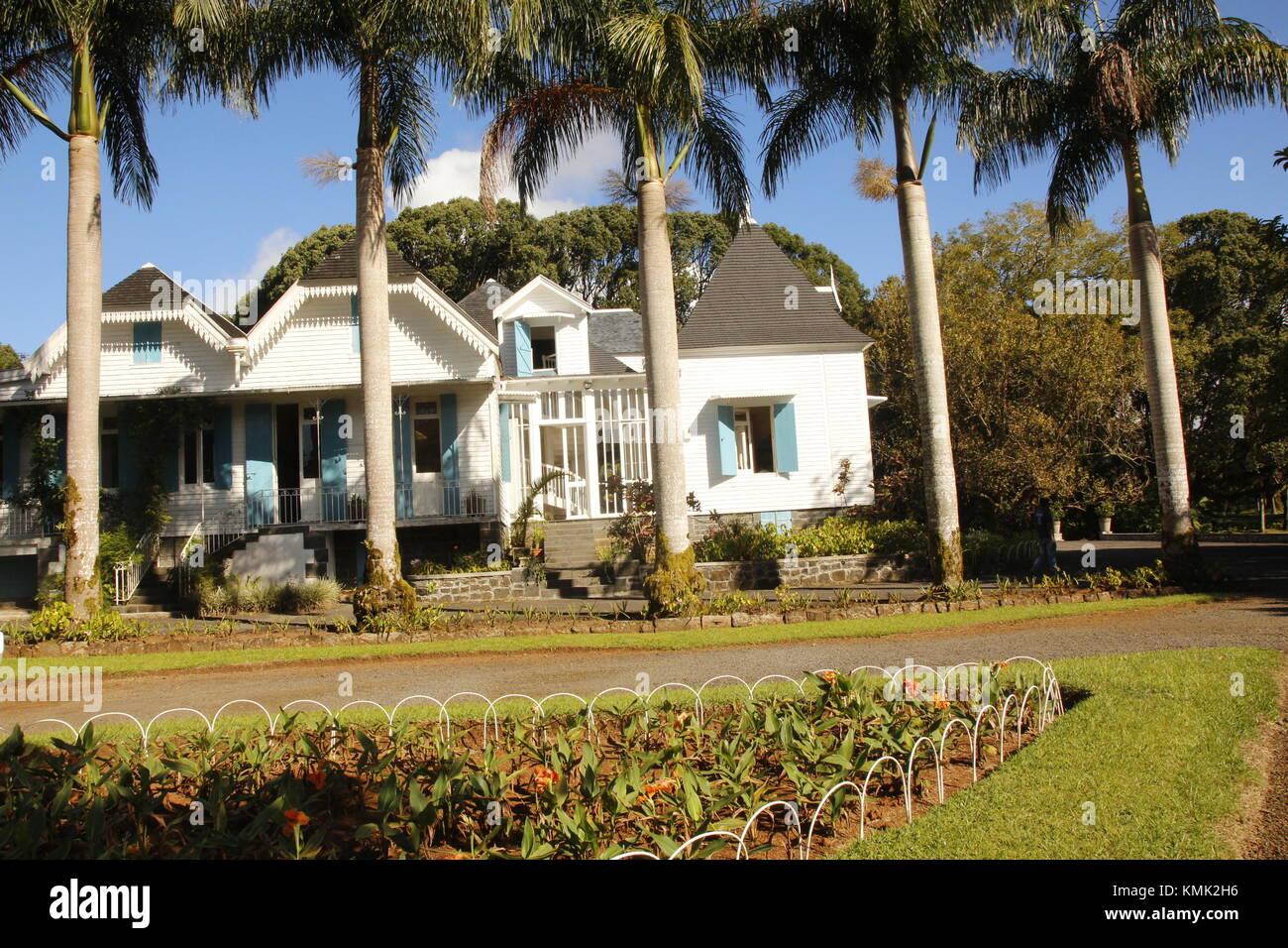 Le Domaine des Aubineaux, Située à Forest Side, à côté de Curepipe, la demeure des Aubineaux fut érigée en 1872. Stock Photo