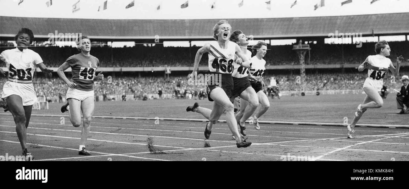 Women 100m final 1956 Olympics - Stock Image