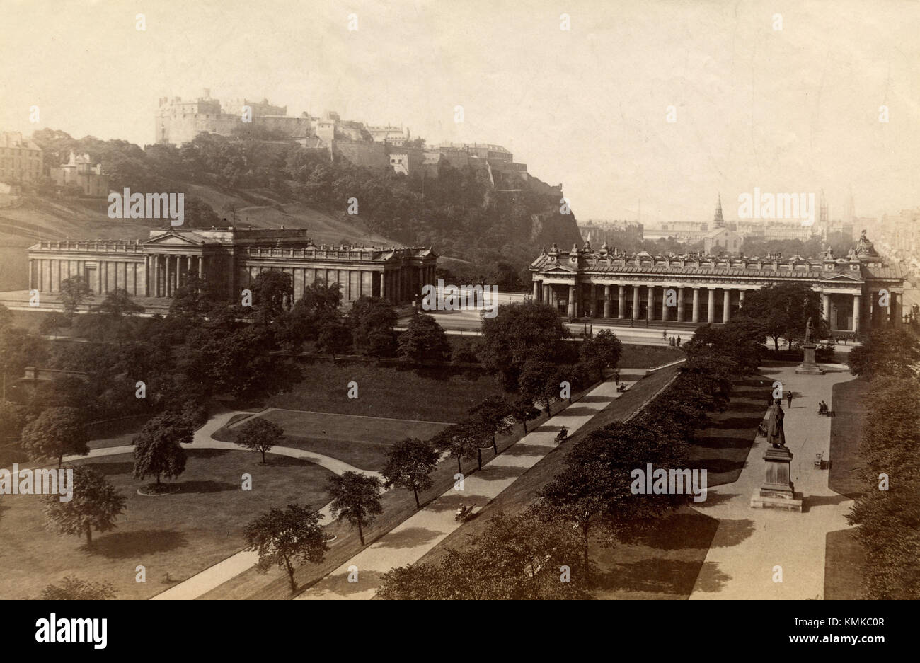Edinburgh Castle, National Gallery and Royal institution, Scotland 1880s - Stock Image