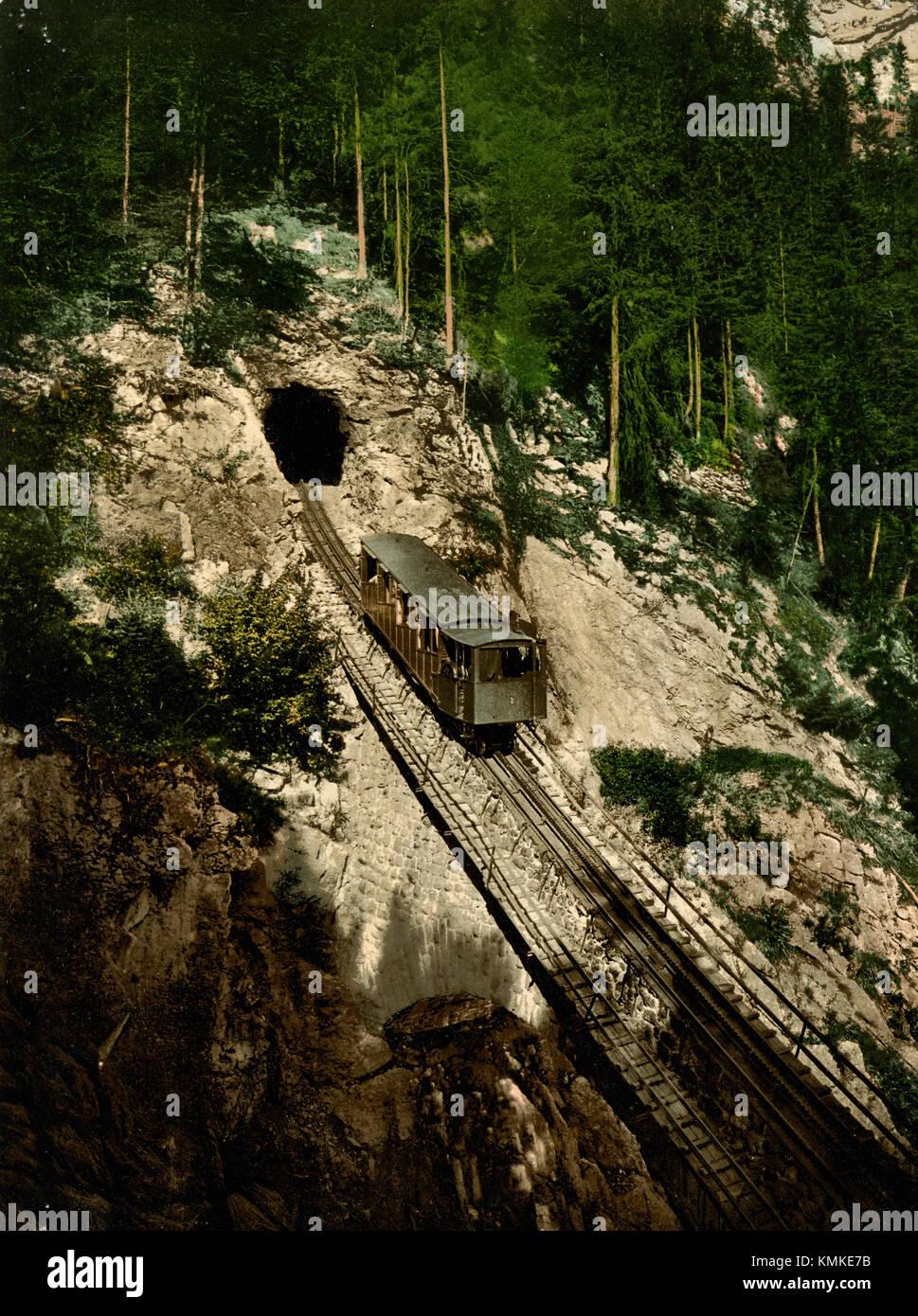 Pilatus railway, Switzerland 1900 - Stock Image
