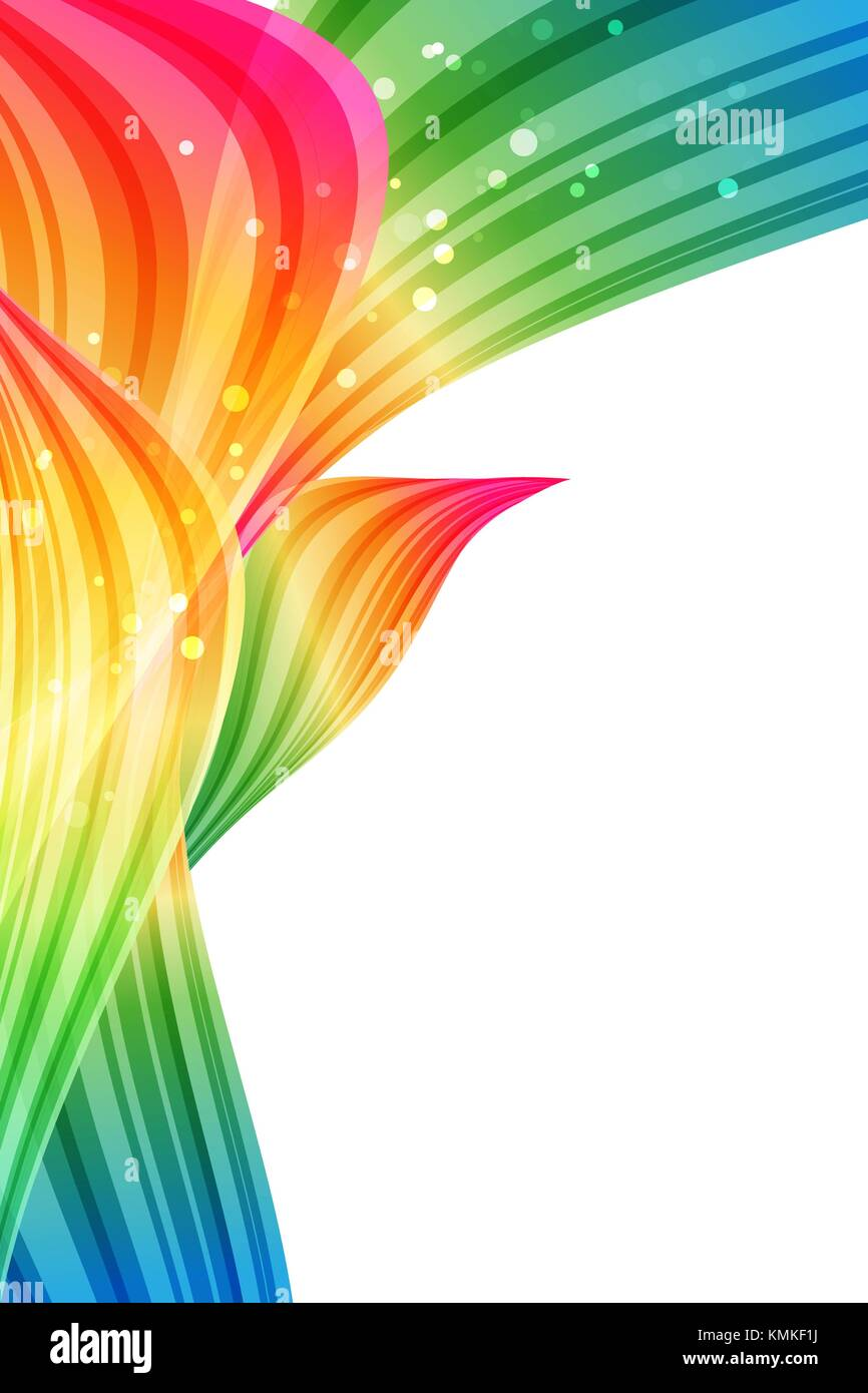 Abstract background, multicolored design, rainbow petals, bright template - Stock Image