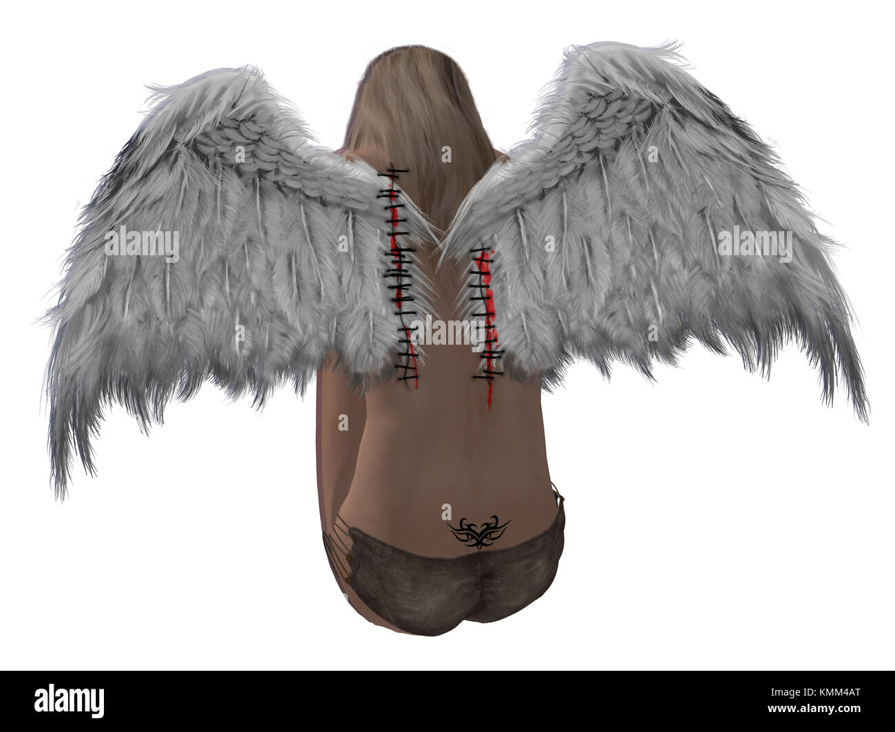 Blonde hair angel with stitched wings and a tattoo - Stock Image
