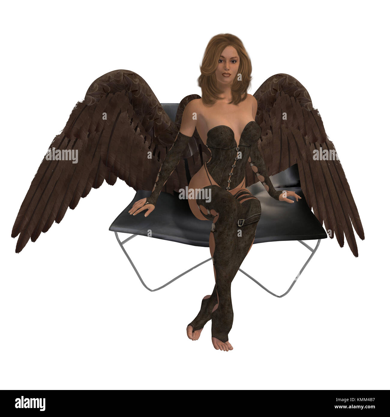 Brunette angel sitting on a chair with wings spread - Stock Image