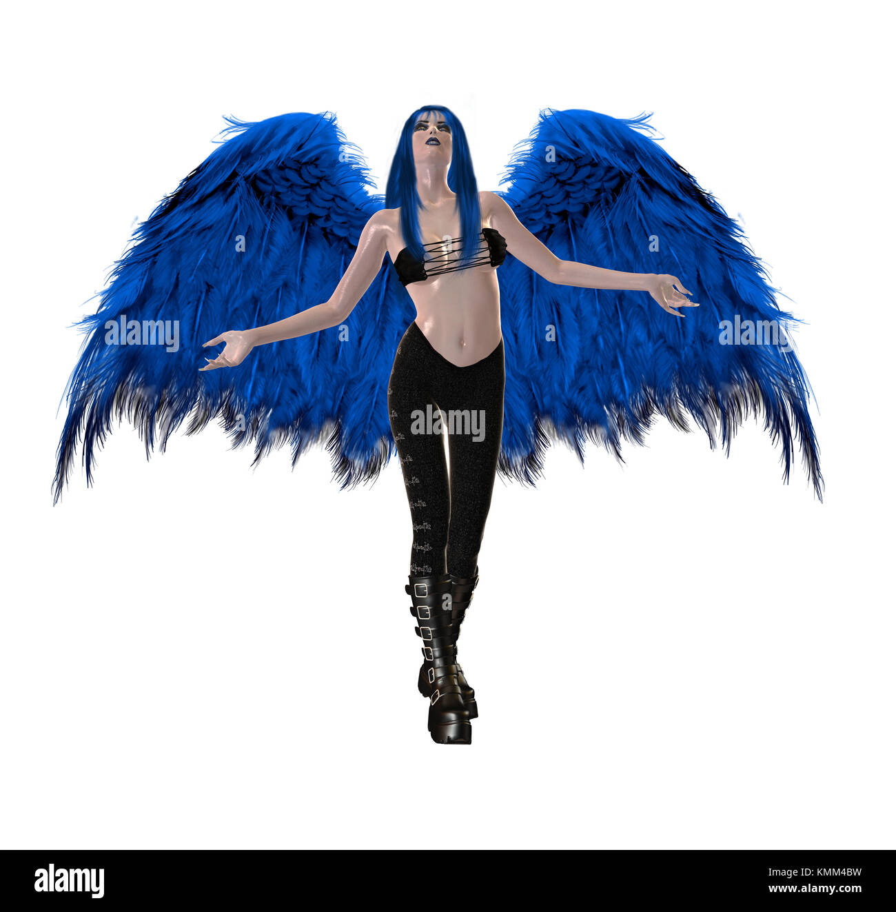 Gothic blue angel with wings spread and arms open - Stock Image