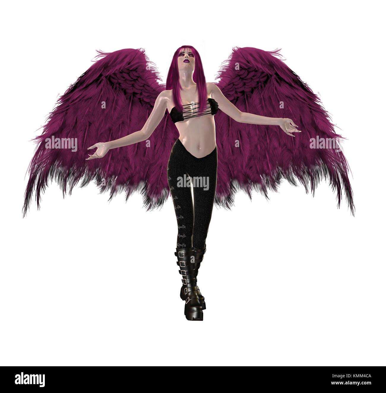 Gothic pink angel with wings spread and arms open - Stock Image