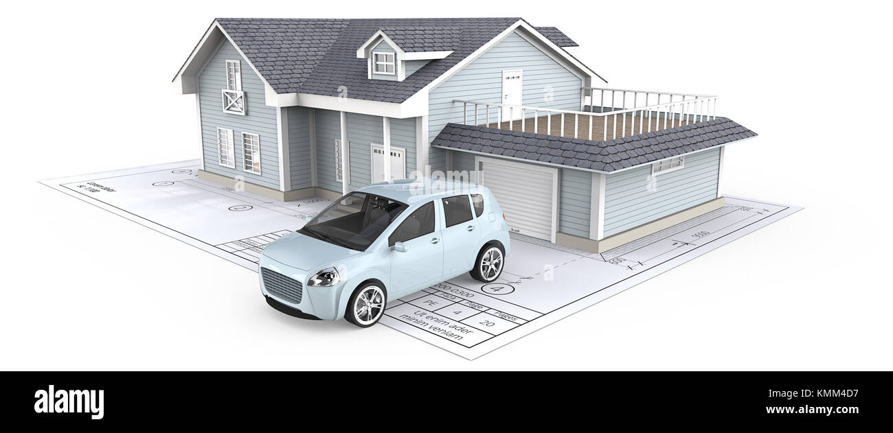 Blue Generic Car and House with Light from windows ontop of Blueprint. 3D render. - Stock Image
