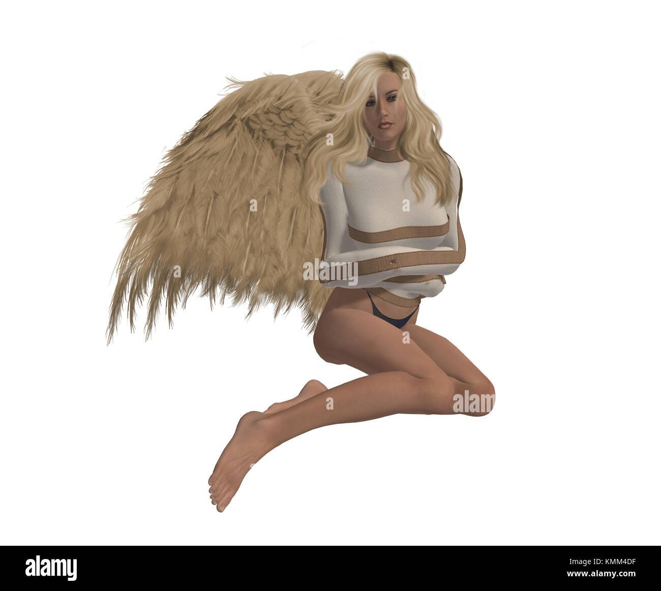 Rebel angel in a straight jacket, sitting down - Stock Image