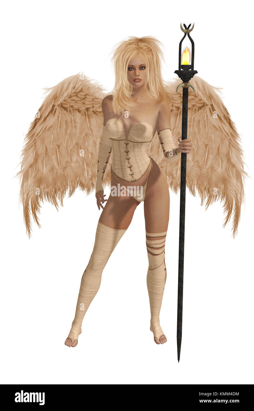 Beige winged angel with blonde hair standing holding a torch - Stock Image