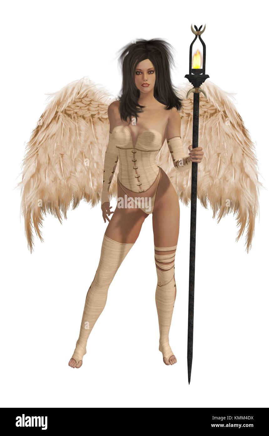 Beige winged angel with dark hair standing holding a torch - Stock Image