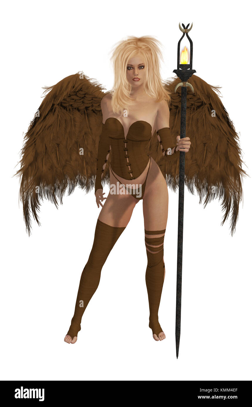 Brown winged angel with blonde hair standing holding a torch - Stock Image