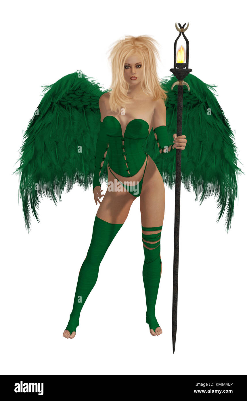 Green winged angel with blonde hair standing holding a torch - Stock Image