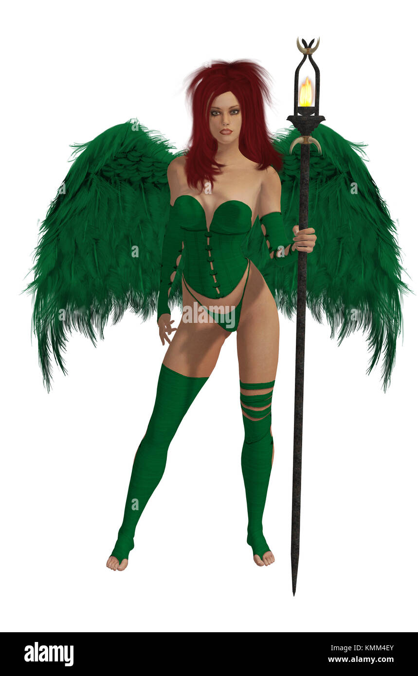 Green winged angel with red hair standing holding a torch - Stock Image