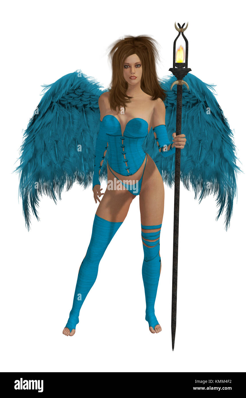 Baby blue winged angel with brunette hair standing holding a torch - Stock Image