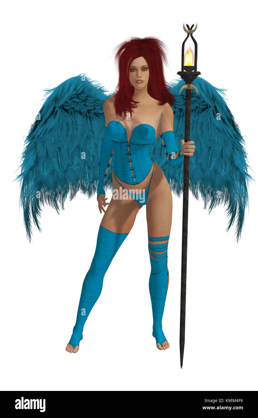 Baby blue winged angel with red hair standing holding a torch - Stock Image