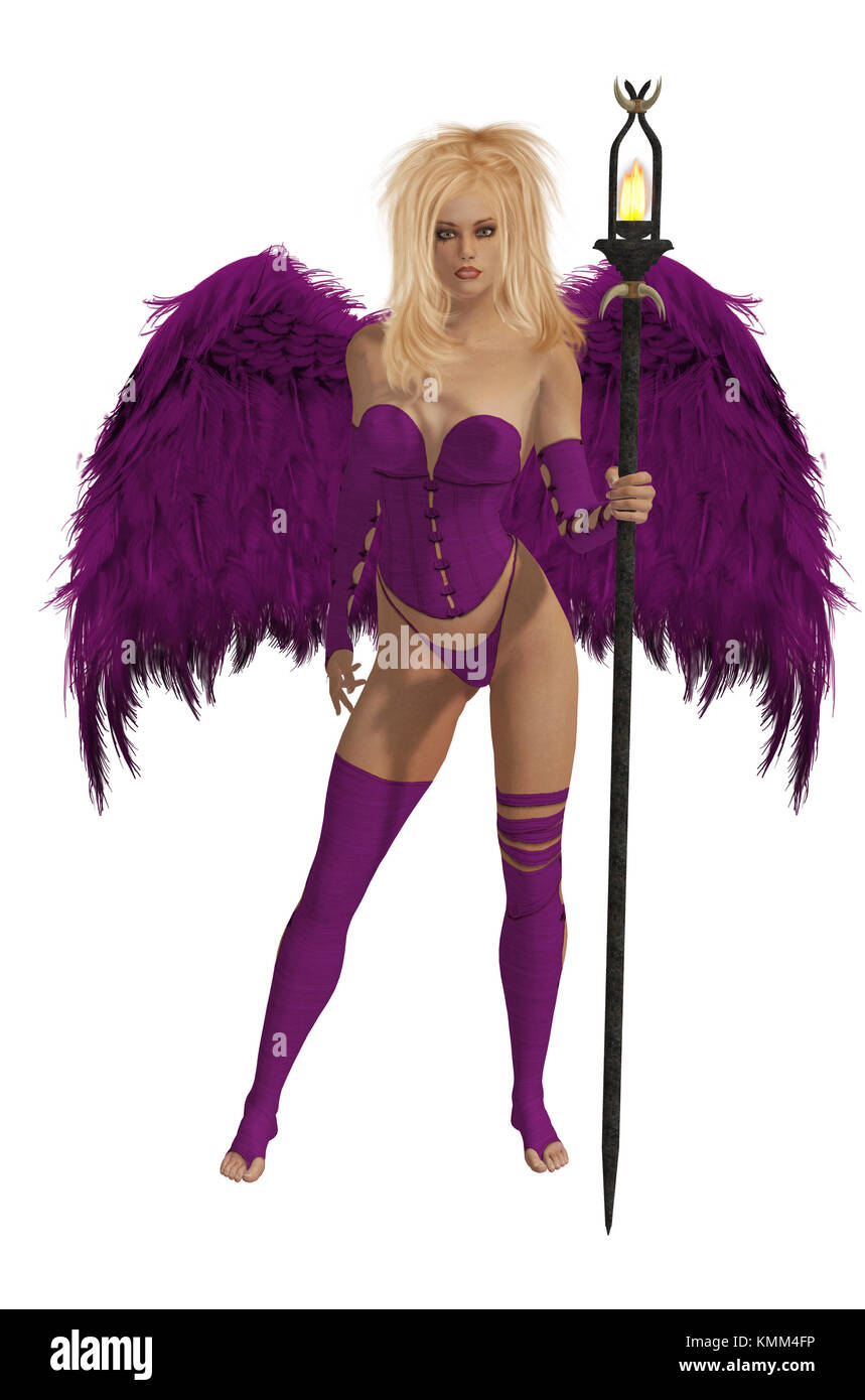 Purple winged angel with blonde hair standing holding a torch - Stock Image