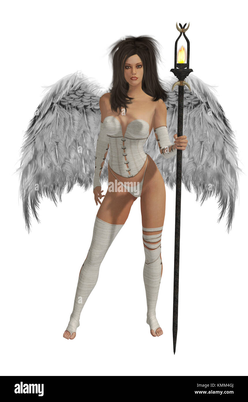 White winged angel with dark hair standing holding a torch - Stock Image