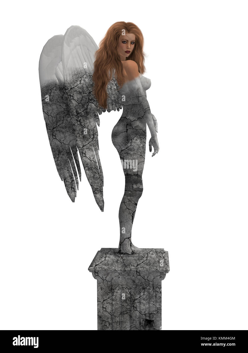 Statue of an angel coming to life - Stock Image