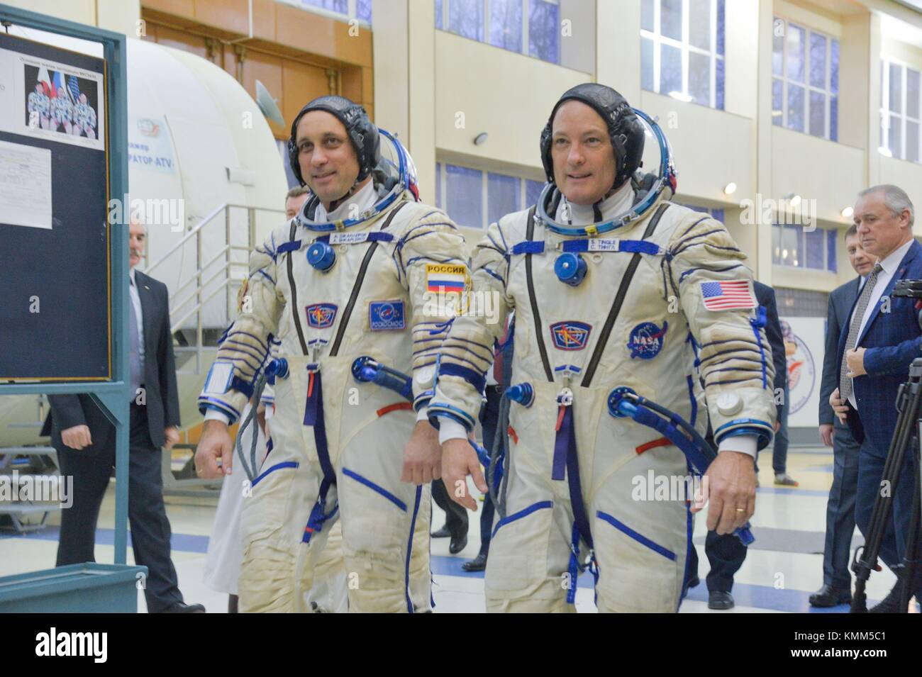 NASA International Space Station Expedition 54-55 prime crew members Russian cosmonaut Anton Shkaplerov of Roscosmos - Stock Image