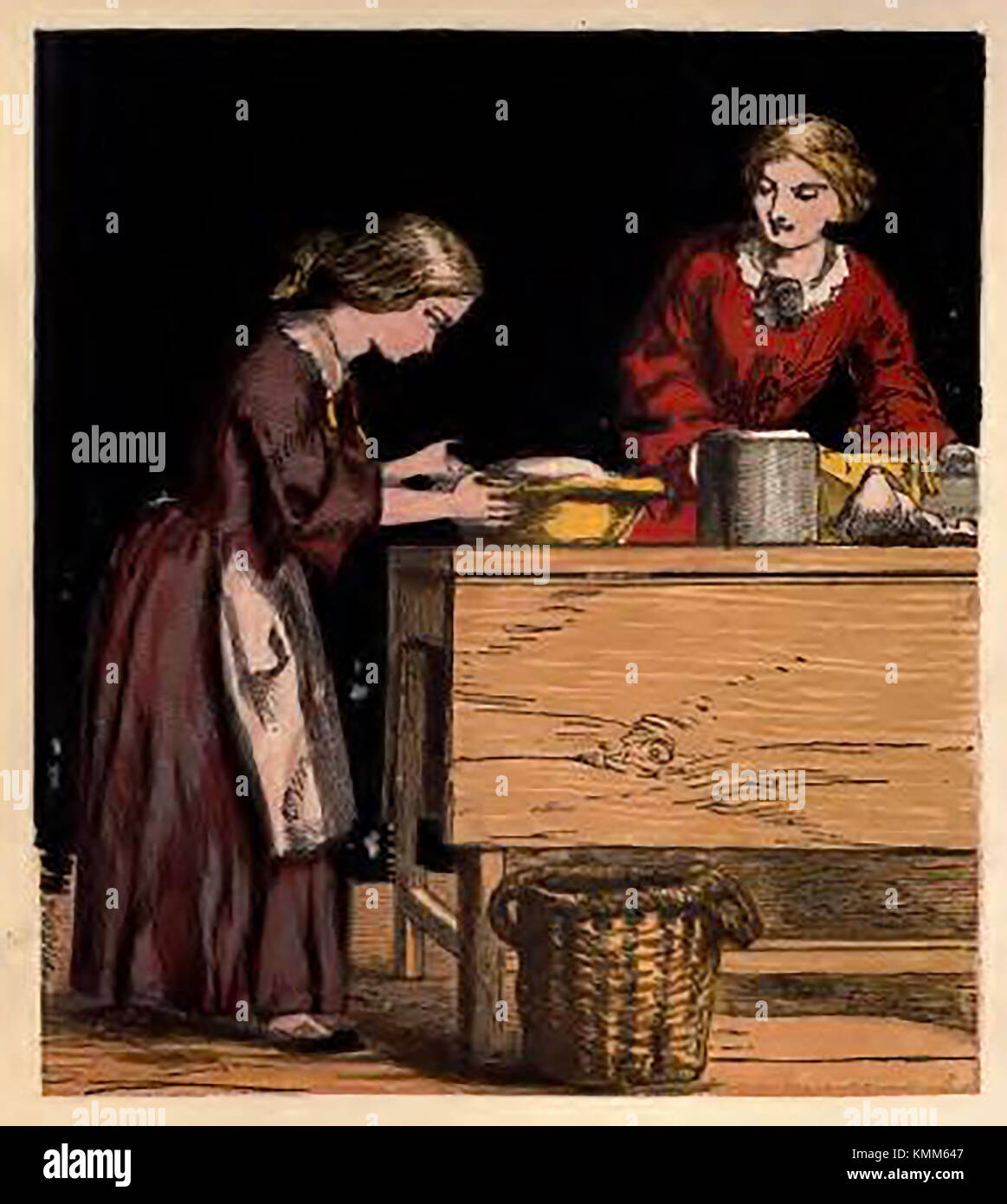 Victorian pastimes (from a coloured children's picture book. - Baking and Cooking - Stock Image