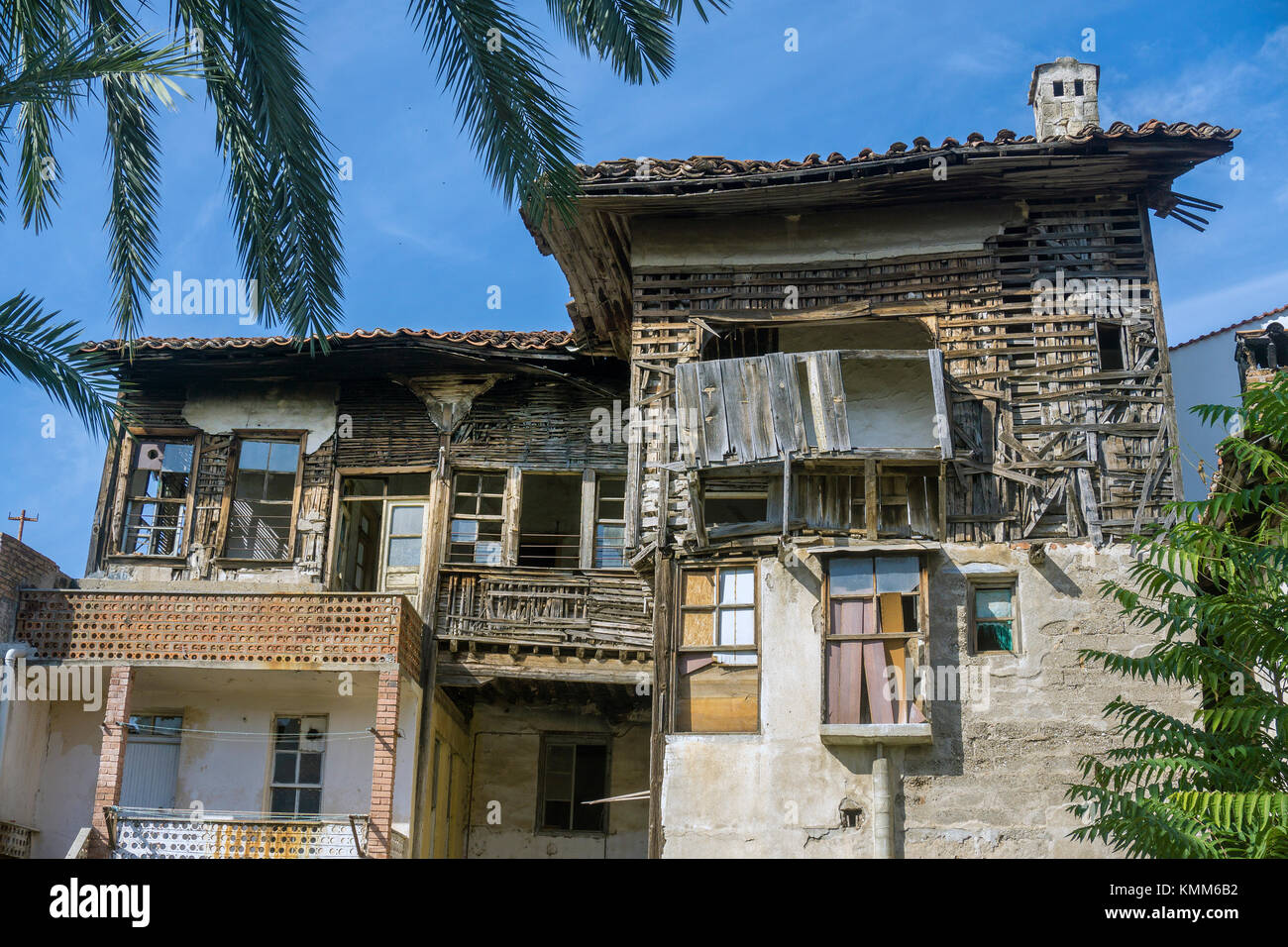 Old ottoman wooden house at Kaleici, the old town of Antalya, turkish riviera, Turkey - Stock Image