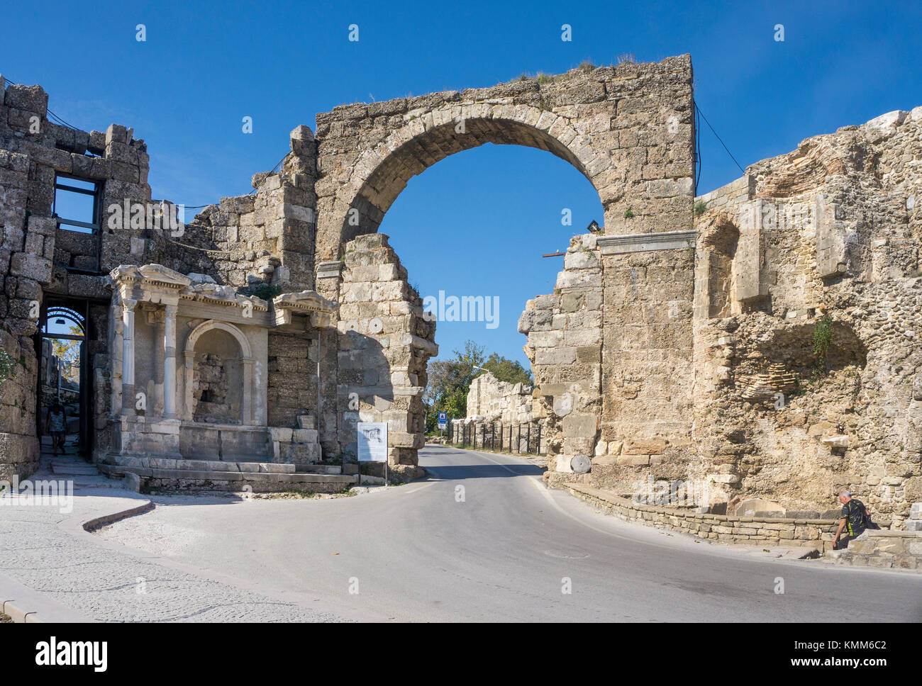 Vespasian, town gate to ancient Side, Manavgat province, turkish riviera, Turkey - Stock Image