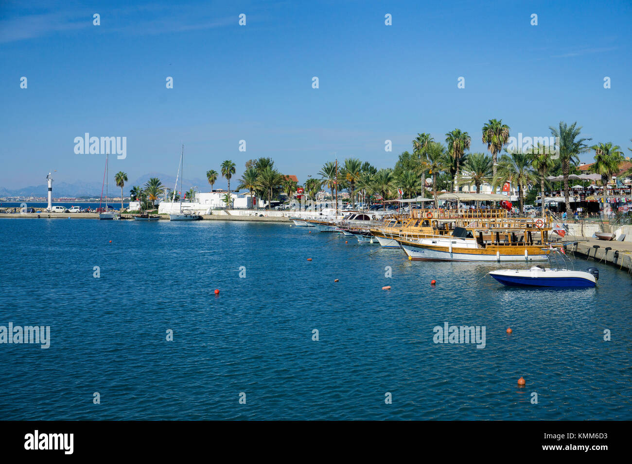 Fishing boats at the harbour of Side, turkish riviera, Turkey - Stock Image