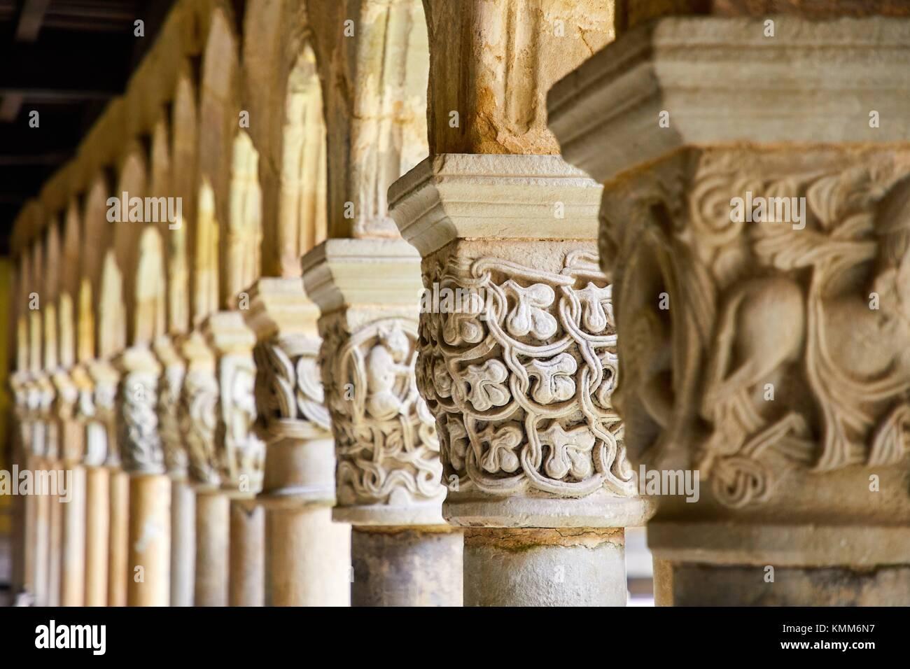 Cloister of the Santa Juliana collegiate church, Santillana del Mar, Cantabria, Spain, Europe - Stock Image