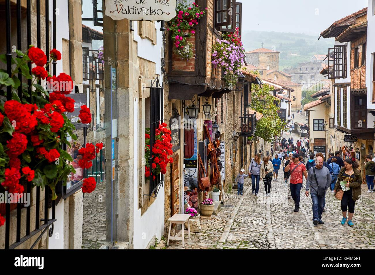Calle Cantón, Santillana del Mar, Cantabria, Spain, Europe - Stock Image