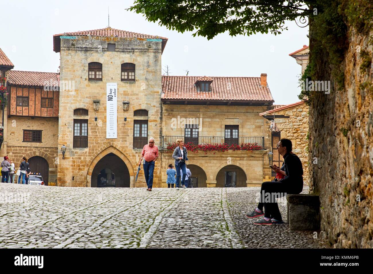 Plaza Mayor, Santillana del Mar, Cantabria, Spain, Europe - Stock Image