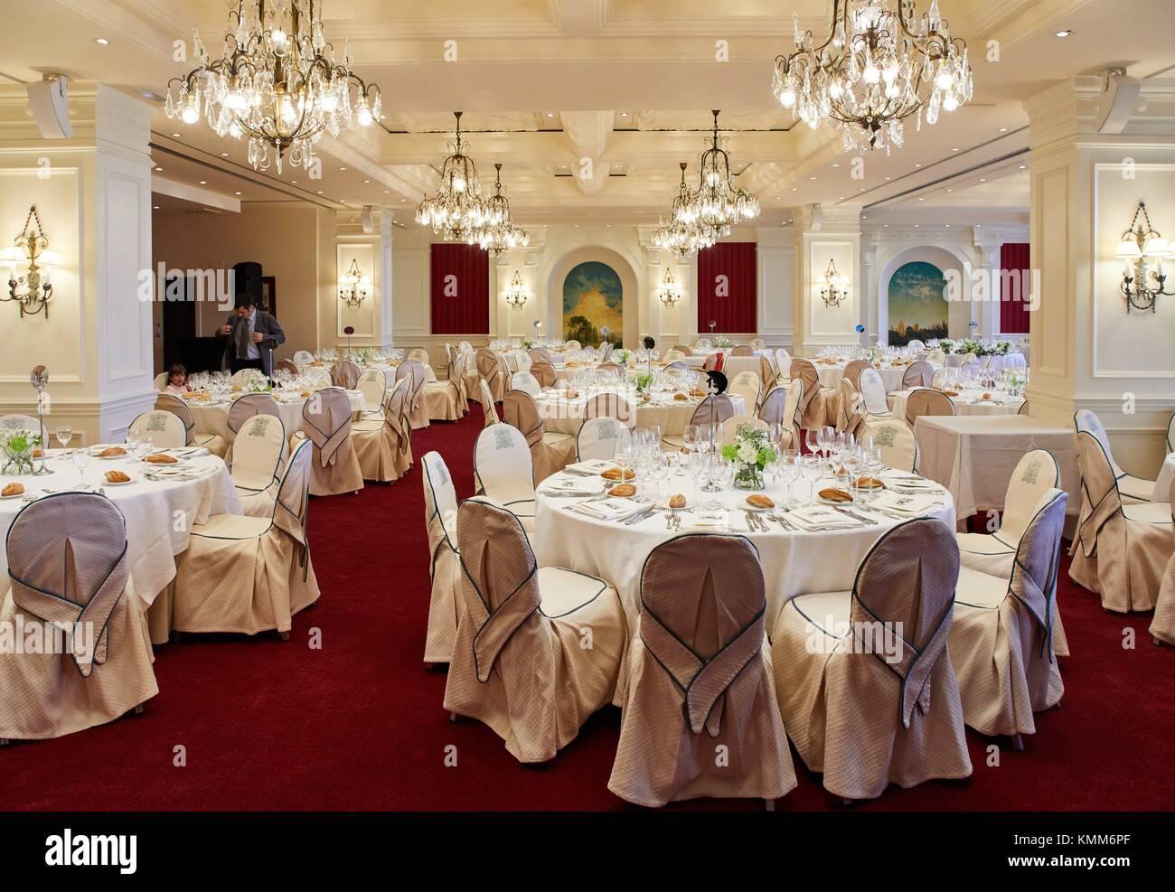 Dining room for banquet, Hotel Londres, Donostia, San Sebastian, Gipuzkoa, Basque Country, Spain, Europe - Stock Image