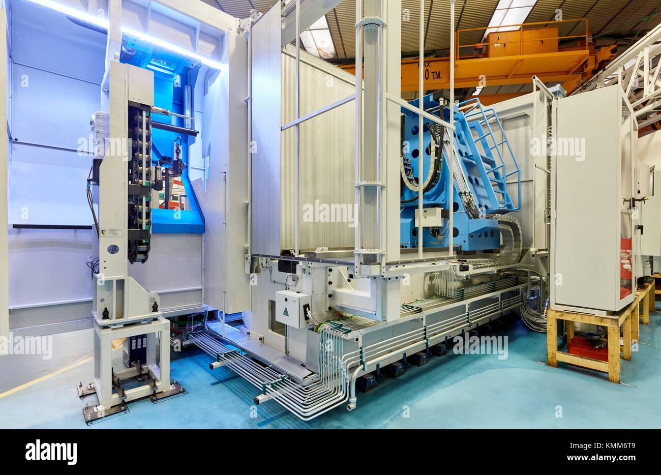 Machining Centre. CNC. Horizontal turning and Milling lathe. Design, manufacture and installation of machine tools. - Stock Image