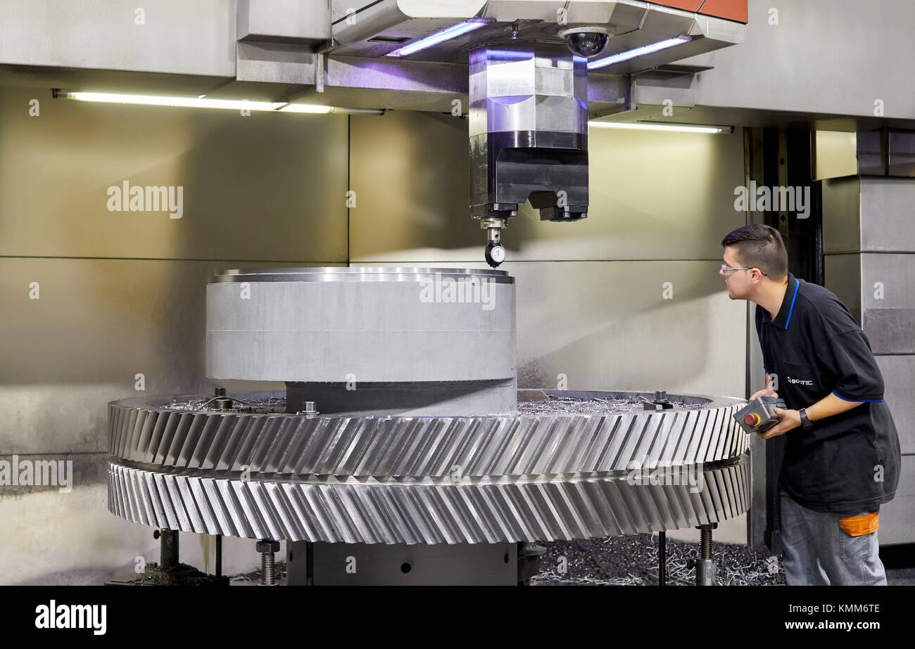 Gear. Machining Centre. CNC. Vertical lathe. Design, manufacture and installation of machine tools. Gipuzkoa, Basque - Stock Image