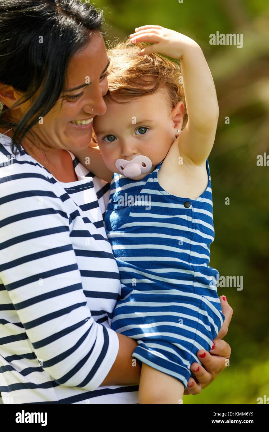 Mother and baby, Getaria, Gipuzkoa, Basque Country, Spain - Stock Image