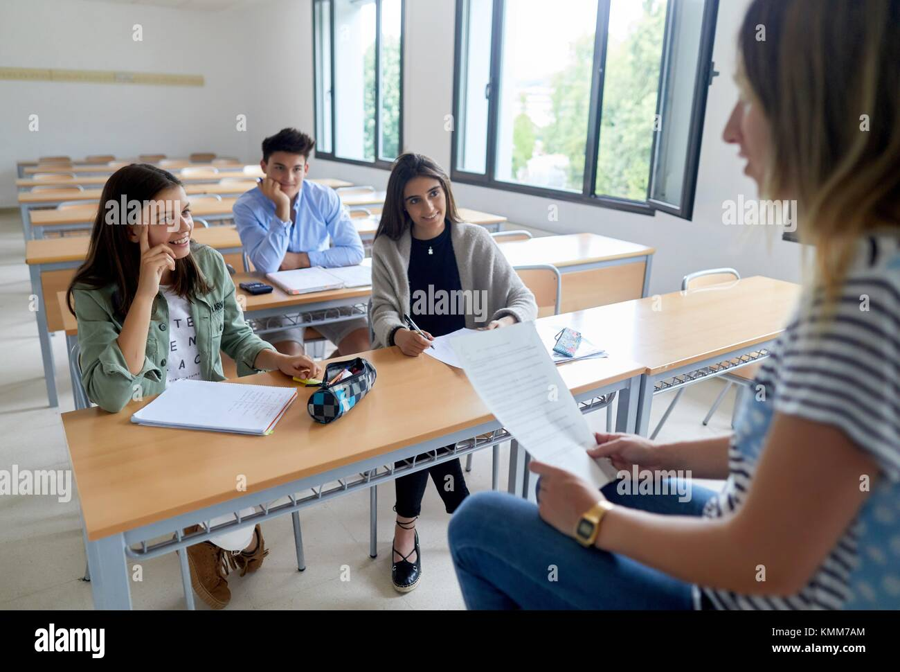 Teacher with students. Classroom. College. School of Business Studies. University. Donostia. San Sebastian. Gipuzkoa. - Stock Image