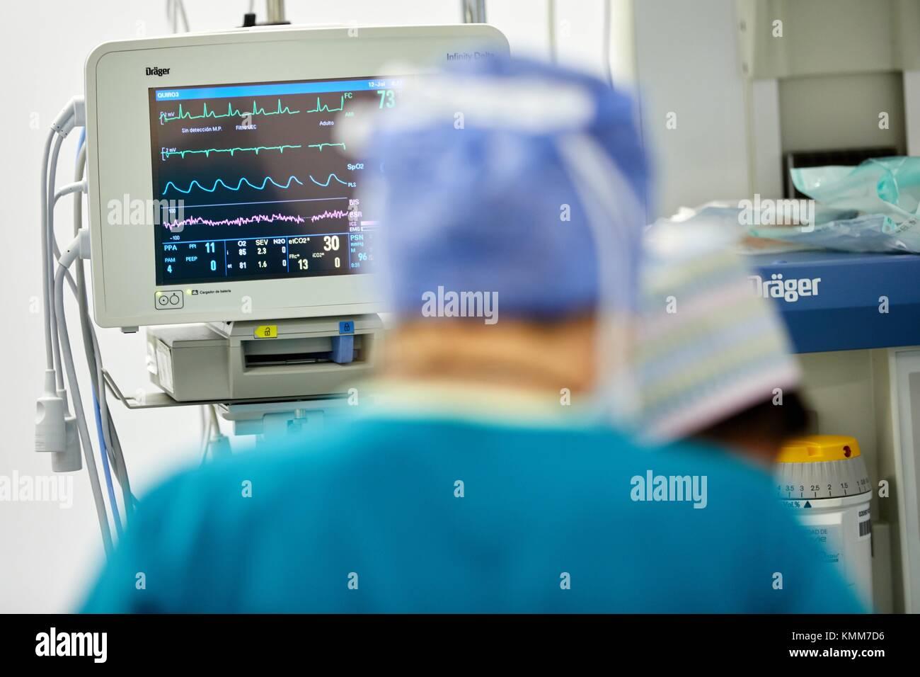 Vital signs screen, Surgery, Operating room, Onkologikoa Hospital, Oncology Institute, Case Center for prevention, - Stock Image